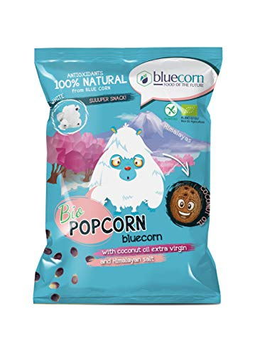 BLUECORN Bio-Popcorn aus Blauem Mais 10er x 50g | Luft-Gepoppt (NICHT FRITTIERT) | Mit nativem Kokosöl und Himalaya-Salz | High Carb, ohne Zucker, Glutenfrei, Vegan, Allergen-Frei | Ohne Chemie