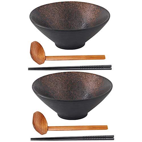 Set di Ciotole di zuppa di Ramen in Ceramica, Cucina e Sala da Pranzo, Ciotola Giapponese addensata con Cucchiaio e Bacchette abbinati, Ciotole Pesanti, per zuppa, Noodle (2 Set (6 Pezzi), 8 inch)