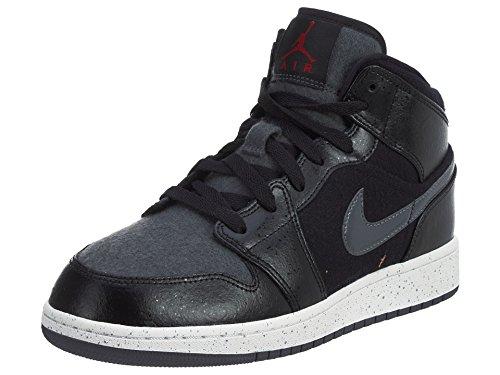 Nike Unisex Jordan 1 Mid Premium Fitnessschuhe, schwarz/grau, 36 EU