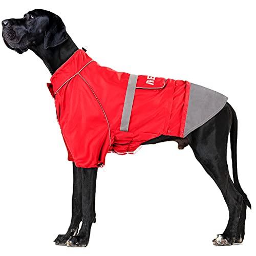 IREENUO Hunderegenmantel, Wasserdichter Hundemantel Regenjacke mit reflektierenden Streifen & Verstellbarer, Outdoor-Bekleidung Regenmantel für Mittlerer und Großer Hunde,2XL