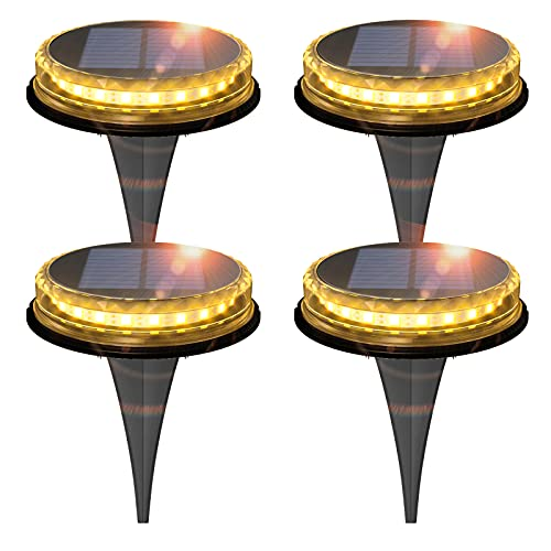 Zuppnm Solar Ground Lights,with a Built-in 1200mAh Battery and 17 LED Lights,Solar Powered Disk Lights.Outdoor in-ground Solar Lights for Landscape, Walkway, Lawn, Steps Decks etc.Waterproof (4 Pack)