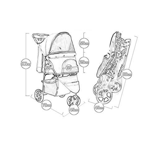 Jlxl Huisdier Kinderwagen Trolley Baby Carriage Reizen Zonnebrandcrème Drie wielen Lichtgewicht Hond Voor Vouwen Een Knop Auto, F