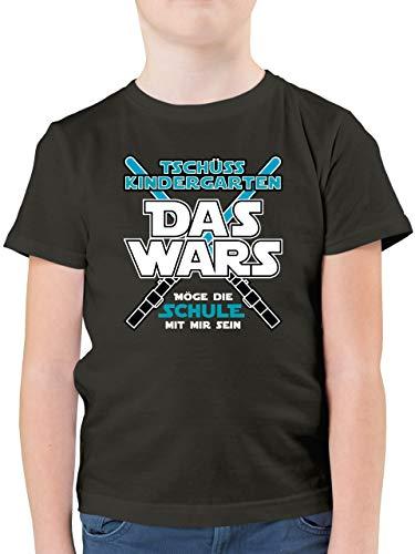 Einschulung und Schulanfang - Das Wars Kindergarten Blau - 128 (7/8 Jahre) - Anthrazit - Schulkind t-Shirt - F130K - Kinder Tshirts und T-Shirt für Jungen