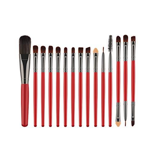 Kakoop - Brochas de maquillaje para mujer, brochas de madera, maquillaje profesional, brocha para base, sombra de ojos, labial, cosméticos, 15 unidades