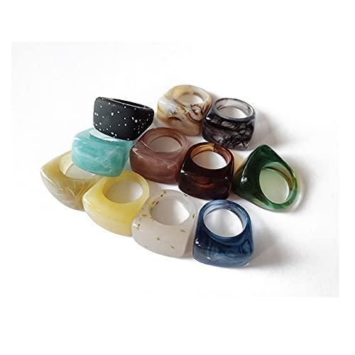 Anillos de Resina - Anillos únicos Coloridos de acrílico Vintage para Mujer - Bandas de Diamantes de imitación de Gemas de plástico Transparente Anillo de Dedo para Mujeres Adultas Joyas de Playa