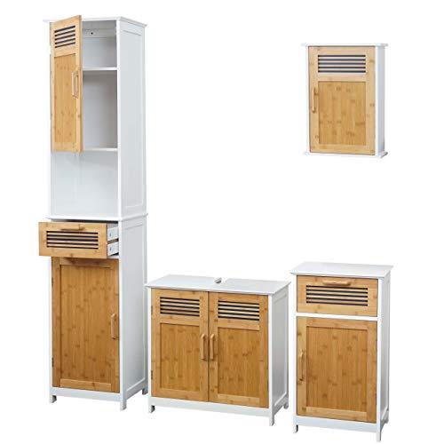 Mendler HWC-A85 Badkamerset, hoge kast, wastafelonderkast, hangkast, commode, bamboe, wit