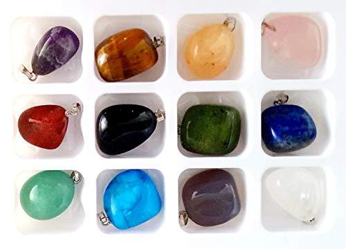 Coffret, 12 pendentifs, pierres naturelles assorties