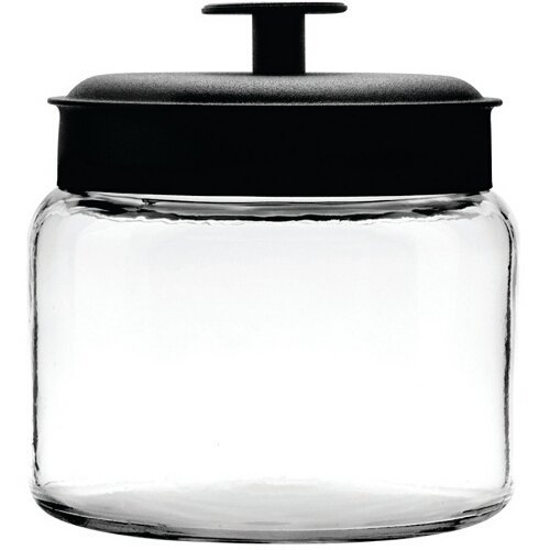 Anchor Hocking Mini Montana Jar with Handled Black Aluminum Lid, 64 Ounce