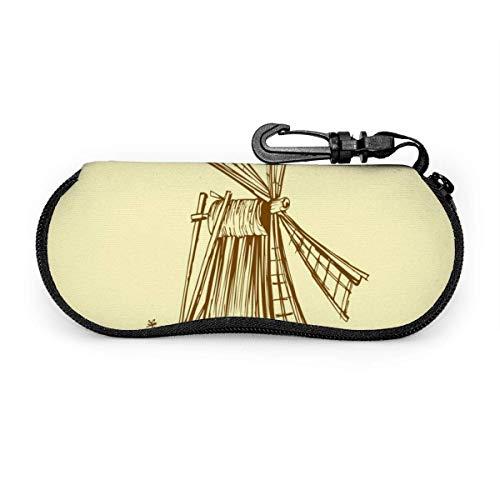 Estuche para gafas Old Mill Windmill Fondo amarillo Gafas de sol Estuche Soft Ultra ligero Estuche portátil para anteojos con cremallera
