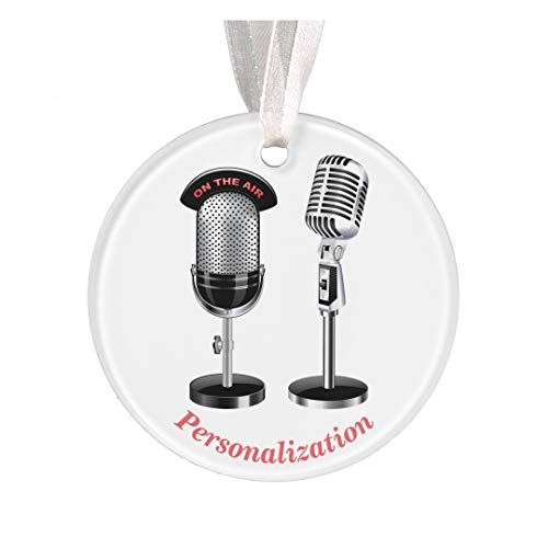 DKISEE Gepersonaliseerde microfoons voor Omroep Kerstmis Ornament Nieuwigheid Kerstboom Kerstmis Decor 3.1 inch