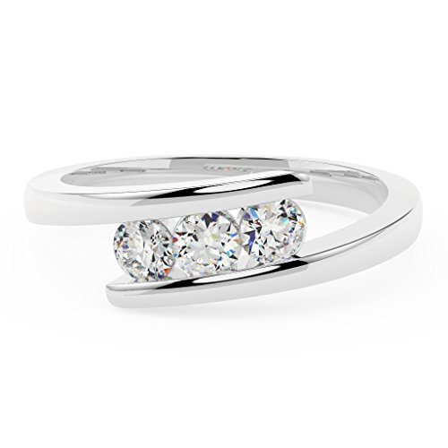 0.30Ct Round Diamond Tension Setting Trilogy Engagement Ring, in White Gold Size M
