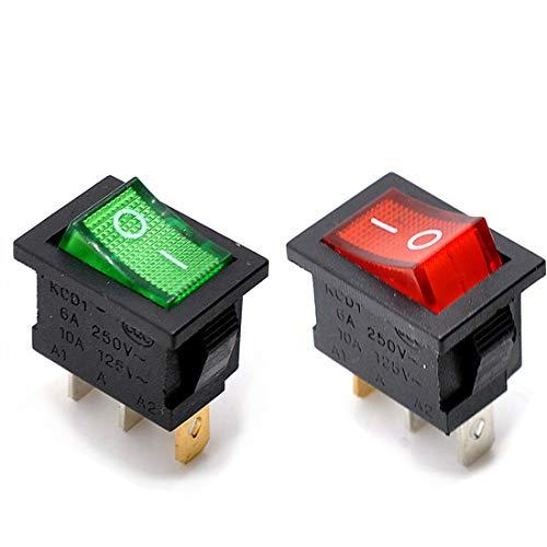 willwin 20pcs KCD1-102N SPDT ON-OFF Rocker interruptores con LED rojo luz