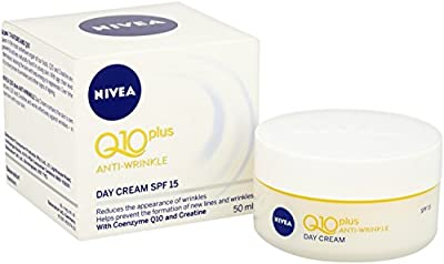 NIVEA Q10 Power Anti-Wrinkle + Firming Age Spot Day Cream SPF15 Pack of 3 (3 x 50ml), Anti Ageing Cream + Creatine & Q10, Moisturiser for Women, Wrinkle Reducing Cream