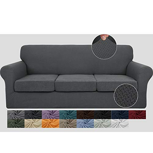JIVINER Newest 4 Pieces Couch Covers for 3 Cushion Couch Stretch Sofa Slipcover with 3 Seat Cushion Covers Thick Fitted Couch Cover for Pet Dogs Furniture Protector (Sofa, Dark Gray)