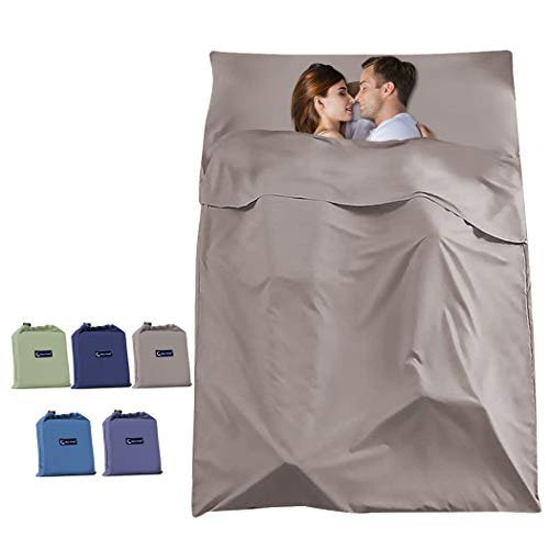 SOMOYA Sleeping Bag Liners, Travel Camping Sheet Lightweight Hotel Sleeping Sack, Give You a Clean Environment When Outdoor (Khaki Brown, 45 x 82.6inch(115 x 210cm))