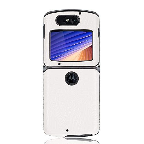 coque Hülle für Motorola Razr 5G,Krokodil Textur Handyhülle für Motorola Razr 5G(Weiß)