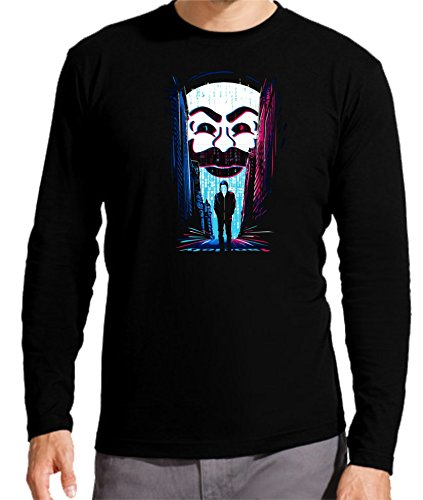 Camiseta Manga Larga de Hombre V de Vendeta V de Vendetta cómic Cine política héroe Venganza L