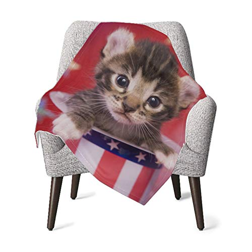 XCNGG Mantas para bebés edredones para bebésBaby Blanket Cute Patriotic Kitten On Red White Super Soft Blankets for Adults Receiving Blanket for Toddler Bed, Crib, Stroller, Nursery Bedding Essentials