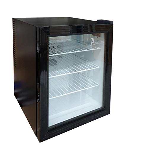Acopino BC48 Minikühlschrank, Thermoelek. Kühlschrank in schwarz, mit Glastür, LED Beleuchtung