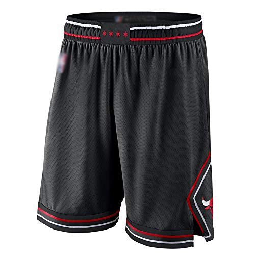 XXMM Hombres Pantalones Cortos De Baloncesto NBA Chicago Bulls Fitness Running Shorts Gym Casual Wear Transporte Shorts,Negro,XL