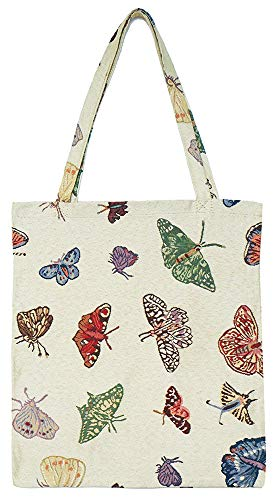 Signare Tapestry Reusable Grocery Eco-Friendly Shopping Tote Bag with Butterfly Design