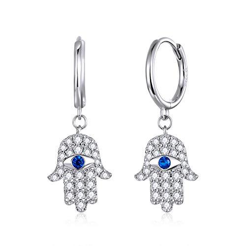 Lucky Evil Eye Hoop Earrings,925 Sterling Silver Hamsa Hand CZ Huggie Earrings for Women