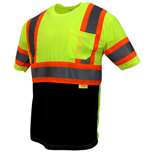 Troy Safety TS-BFS-T5512 High-Visibility Class 3 T Shirt with Moisture Wicking Mesh Birdseye, Black Bottom (L, Lime)