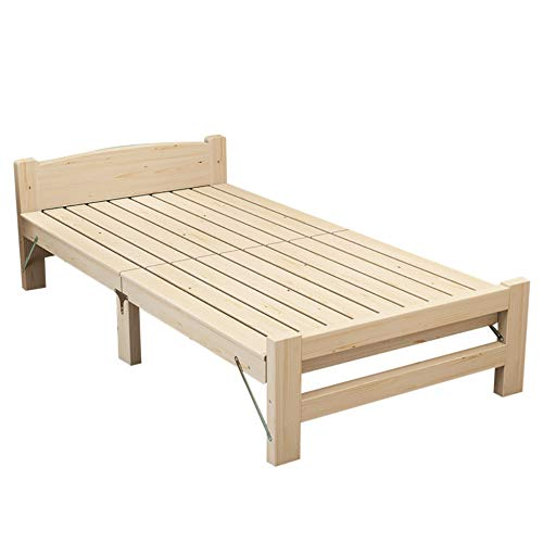 LJ Home Einzelbett Faltbares Holz Modern Simplicity Durchbrochenes Klappbett Aus Massivem Holz Klappbett Für Kinder Mit Matratze Und Kissen