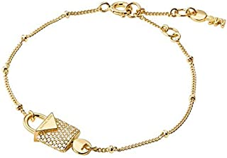 Michael Kors Women Cubic Zirconia 14Ct Gold Plated Padlock Bracelet