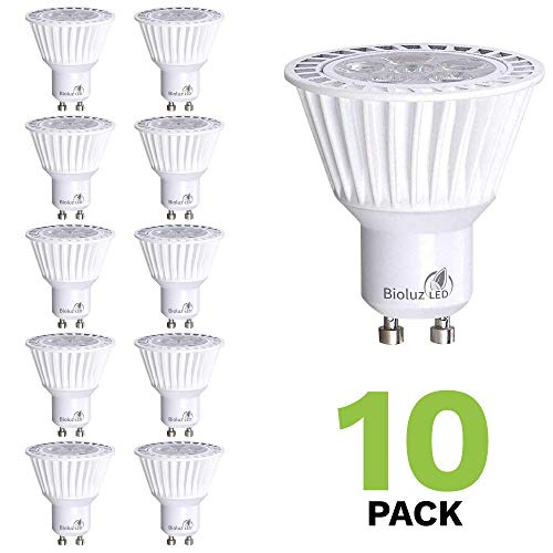 Bioluz LED 10 Pack GU10 LED Bulbs Dimmable 3000K 50W Halogen Replacement 120v UL Listed (Pack of 10)
