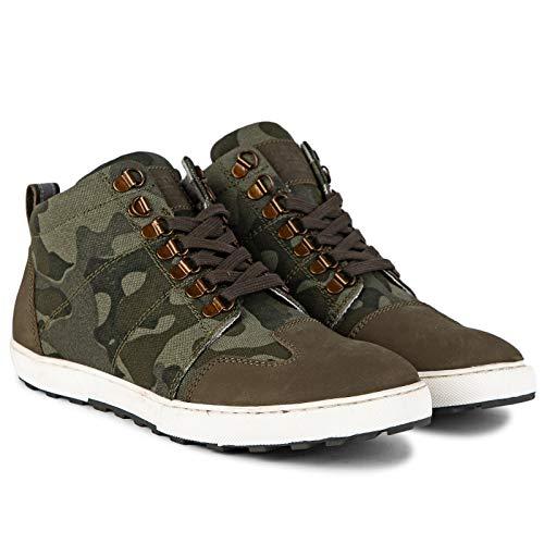 Royal Enfield Men's Geoff Sneakers CAMO Green (45) Leather Outdoor Boots-11 UK EU (SHOSS1904)