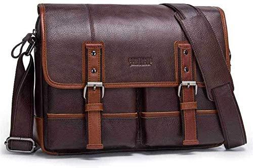 LL-SUNGIRL 13' Men's Messenger Bag Briefcase Vintage Leather Crossbody Shoulder Satchel Bags Laptop Handbag