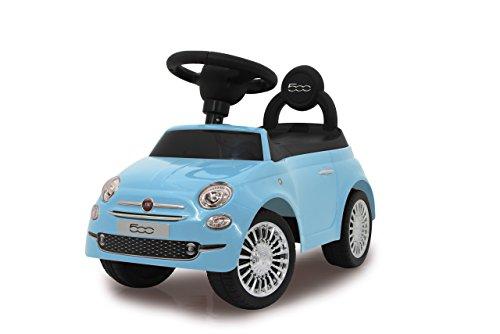 Jamara 460327 - Push-Car Fiat 500 blu – Bagagliaio sotto il sedile, Maniglia per spinta e sostegno, Clacson, Protezione da ribaltamento