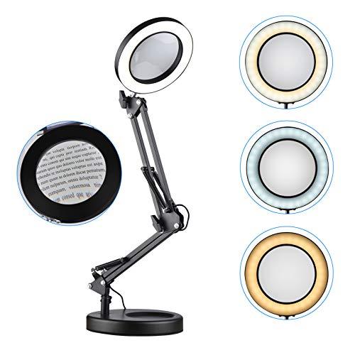 Aibecy Aro de luz, Lupa 5X con luz y soporte de base Lupa de luz LED para cuidar los ojos Lámpara de escritorio con lupa Brazo giratorio de metal ajustable 3 modos de color 10 Brillo regulable