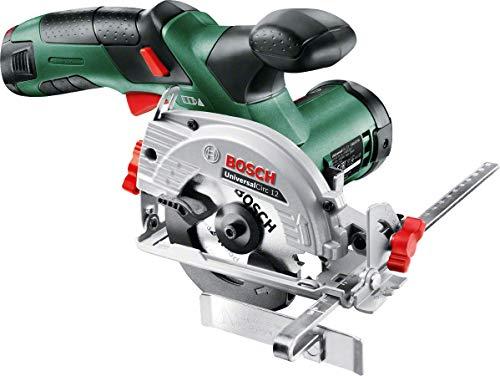 Bosch DIY mini-handcirkelzaag oplader, zaagblad voor hout, adapter voor stofzuiger, parallelaanslag, cirkelzaagbladdiameter UniversalCirc 12 - zonder accu zwart, groen