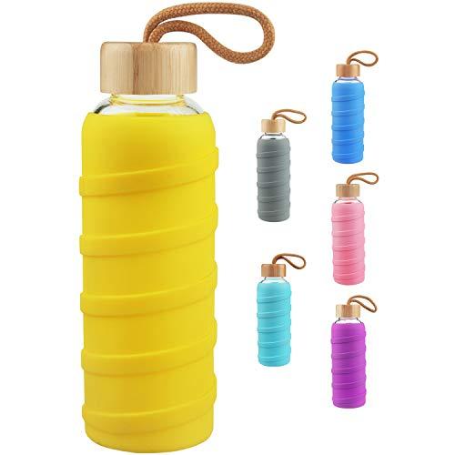 SHBRIFA Botella de Agua de Vidrio de Borosilicato Deportivo 480ml / 1000ml / 1 Litre, Botella de Agua de Cristal con Funda de Silicona y Tapa de Bambu a Prueba de Fugas(480ml Amarillo)