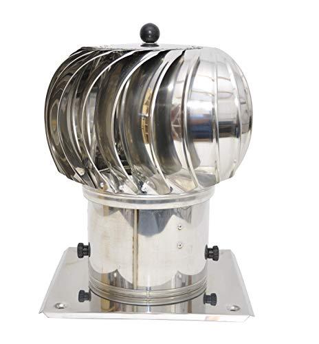 Cabezal redondo de ventilación, de acero inoxidable, rotatorio, 150mm de diámetro, para horno o chimenea