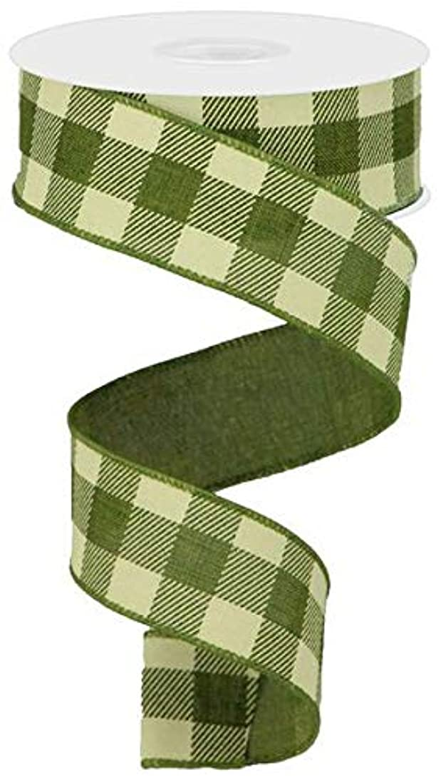 Plaid Check Wired Edge Ribbon - 10 Yards (Moss Green, Ivory, 1.5