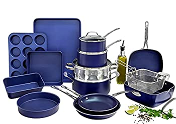 Granitestone Blue 20 Piece Pots and Pans Set Complete Cookware & Bakeware Set with Ultra Nonstick Durable Mineral & Diamond Surface Stainless Stay Cool Handles Oven & Dishwasher Safe 100% PFOA Free