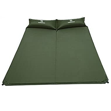 Camel Double Self-Inflating Sleeping Pad Attached Pillow, Comfortable 2 Person Camping, Hiking, Backpacking, Beach (Army Green)