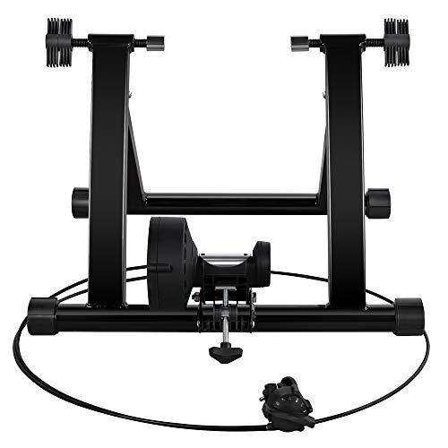 costoffs Foldable Indoor Bike Trainer Bicycle Magnetic Turbo Tranier Stand with 6 Magnetic Resistance Levels Adjustment, Fits for 26''-28'' & 700C Wheels, Black