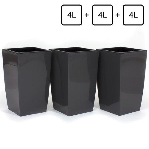 3x Pot de fleur Coubi 4L fond survéelé largeur 160 mm carré décoration gris