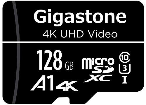 Gigastone Tarjeta de Memoria Micro SD 128 GB, Vídeo 4K UHD, Cámara de Vigilancia y Seguridad, Cámara de Acción, Drone Profesional, 95 MB/s Micro SDXC UHS-I A1 Clase 10