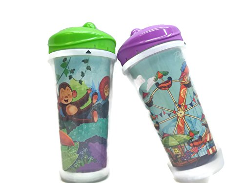"PLAYTIME INSULATED SPILL-PROOF SPOUT CUPS ""Jungle & Ferris Wheel Theme"" (2 Cups each 9oz) ++BONUS BABY WIPES++"