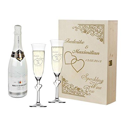 polar-effekt 2 Sektgläser mit weiße Herzen und Sekt-Flasche in Geschenkbox - Personalisiert mit Gravur - Hochzeit Geschenkidee Sektglas-Set - Motiv Vintage mit Herzen