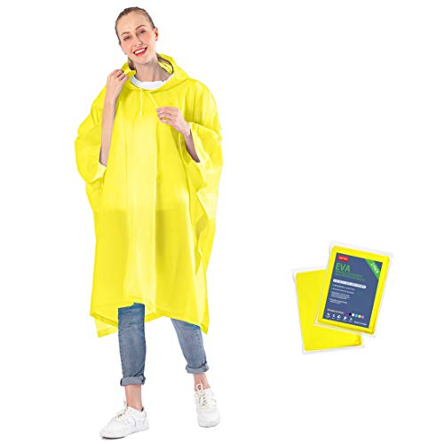 ANTVEE Rain Ponchos for Adults with Drawstring Hood, 0.15mm Durable and Lightweight, EVA Material Non-Toxic No Plastic Smell, Reusable 2 Packs. (Yellow)