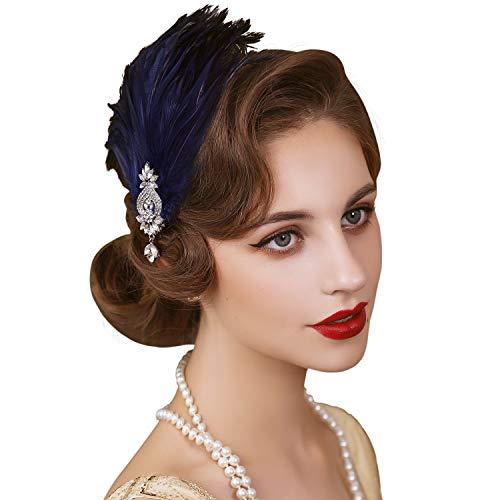 SWEETV Diadema de plumas de los años 20, accesorio para el pelo de los años 20, gran clip de pelo Gatsby, color azul marino