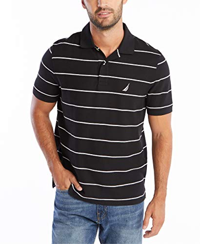 Nautica Men's Stripe Deck Anchor Polo, Black, Medium