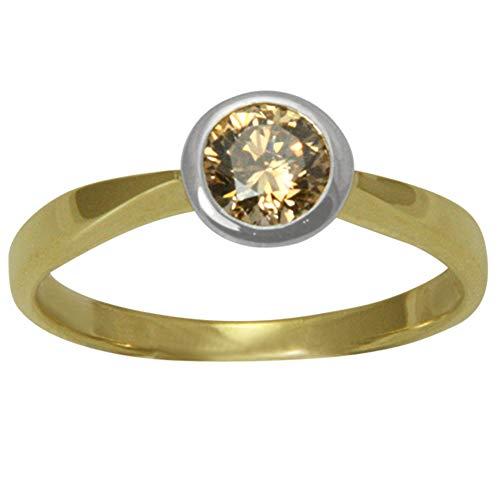 """Diamant Gold Ring\""""Champagne\"""" Goldschmiedearbeit (Gelbgold/Weißgold 585) - Diamant Ring 0,60 Karat - mit Wert Expertise"""