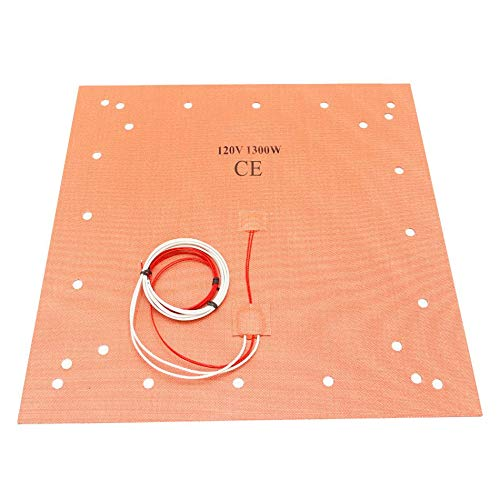 CR10 S5 Silicone Heater Pad 508 x 508mm 20' X 20' Heated bed w/ 24 Holes For Creality CR-10 S5 3D Printer Large Print Bed, Adhesive Backing + Sensor (120V)